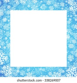 Christmas card with snowflakes frame on blue background. Vector illustration EPS10