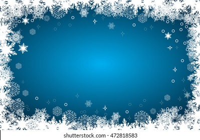 Christmas card with snowflakes frame on blue background, vector illustration