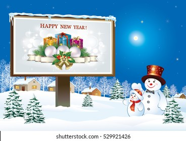 Christmas card with snowman and billboard on a background of nature