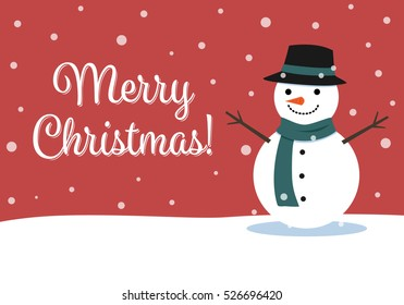 Christmas card with snowman cartoon.