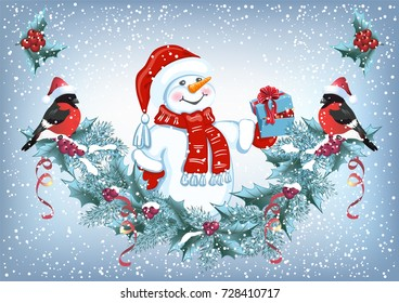 Christmas card with Snowman in Santa hat with gift box and christmas decorative garland and funny bullfinches. New Year design postcard