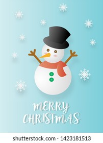christmas card , snowman with snowflak in blue wallpaper .