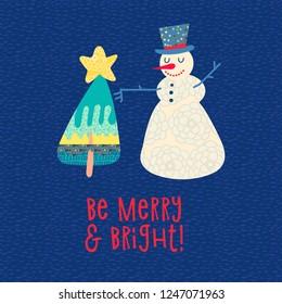 Christmas card. Snowman and Xmas tree. Tee print