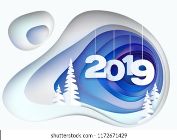 Christmas card. Snowy hill with fur trees and digits 2019. Winter paper cut craft design. Vector illustration