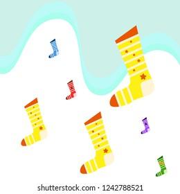 christmas card, christmas sock, vector background