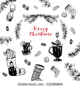 Christmas card with socks, hot wine, cones, branches, cookies.