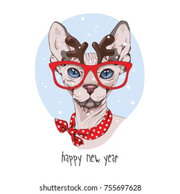 Christmas card. Sphynx Cat in a deer mask and in a red neck scarf. Vector illustration.
