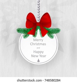 Christmas card with spruce branches and a red bow on a white wooden background. Merry Christmas and a happy new year. Vector illustration.