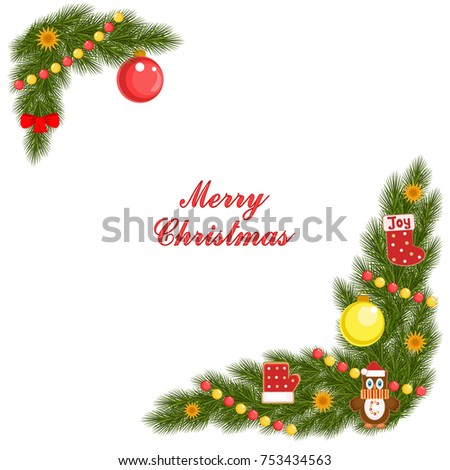 christmas card with spruce corner cookies and decorations vector illustration