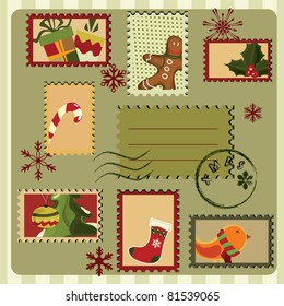 Christmas card with stamps and many elements . Retro style.