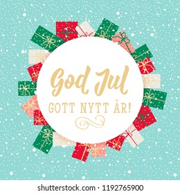 Christmas card. Swedish text: Merry Christmas. Happy New Year. Lettering. vector illustration. element for flyers, banner and posters Modern calligraphy. God Jul. Gott nytt år!
