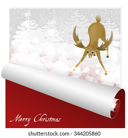 Christmas card with sweet deer looking at the magic glow in the flat snowy forest. The envelope dissolves into a roll. Is ideal for invitation cards, background suited for print and web products.