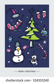 Christmas card template with big collection of bright  New Year elements made in vector. Vector Christmas theme.