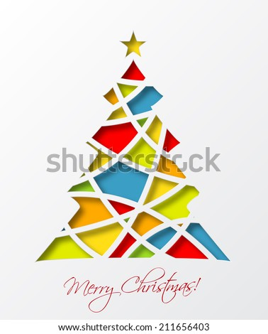 christmas card template colored christmas tree stock vector royalty