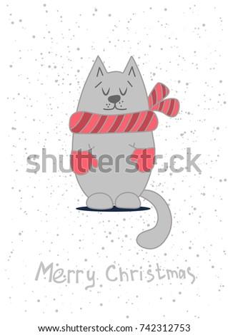 christmas card template cute cat のベクター画像素材 ロイヤリティ