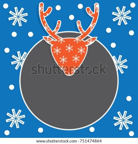 Christmas Card Template Deer Head Snowflakes Stock Vector Royalty