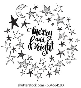Christmas card template. Hand drawn lettering Merry and Bright. Perfect brush typography for cards, poster, t-shirt, invitations and other types of holiday design. Vector illustration.