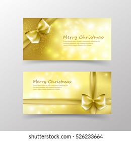 Christmas card template for invitation and gift voucher with gold ribbon and lighting effect element vector illustration eps10