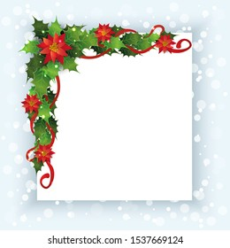 Christmas card template with red poinsettia flower and green holly leaves decoration on corner border. Blank white square copy space for winter holiday - vector illustration.