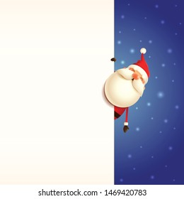 Christmas card template with Santa Claus peeking behind board on blue snowy background