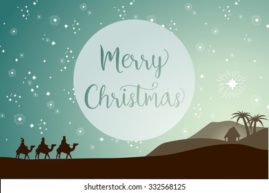 Christmas card template, three magi following the star