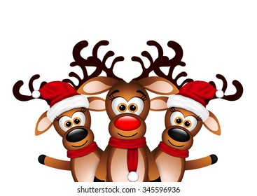 Christmas Card with three happy reindeer
