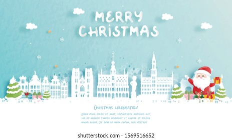 Christmas card with travel to Belgium concept. Cute Santa and gift boxes. World famous landmark in paper cut style vector illustration.