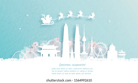 Christmas card with travel to Seoul, South Korea concept. Cute Santa and reindeer. World famous landmark in paper cut style vector illustration.