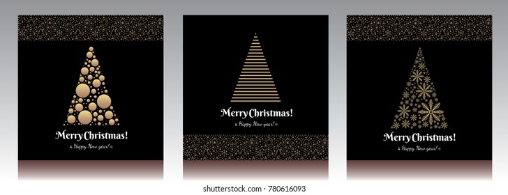Christmas card tree and ball. Greeting icon golden set