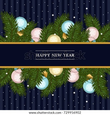 Christmas Card Christmas Tree Branches Christmas Stock Vector