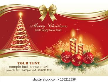 Christmas card with Christmas tree and candles
