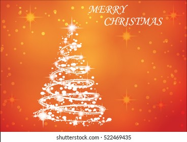 Christmas card with Christmas tree and lights