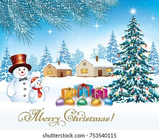 Christmas card of the with a Christmas tree, snowmen and gifts on a nature background. Vector illustrations