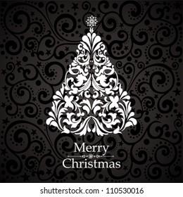 Christmas card. Christmas tree. Vector Illustration