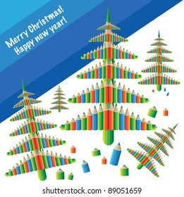 Christmas Card with Christmas trees (background vector postcard)