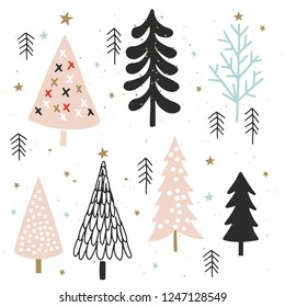 Christmas card with trees and stars for invitation, flyer, planner, sticker, scrapbooking, print, posters