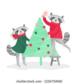 Christmas card with two cute vector raccoons  who decorate christmas tree and isolated on white background. Happy New Year and Merry Christmas!