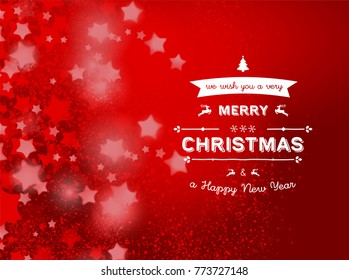 Christmas Card With Typography and Christmas Background with stars  isolated on red