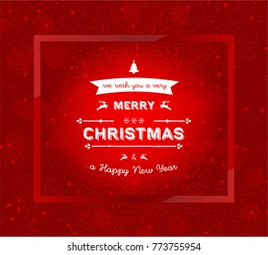 Christmas Card With Typography, frame and snow, isolated on red Background