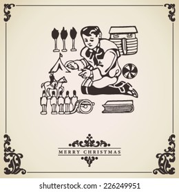 Christmas Card vector. Child playing with toys. Vintage decorative christmas card.