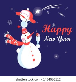 Christmas card vector with funny snowmen on a dark background with snowflakes. Happy New Year greetings.