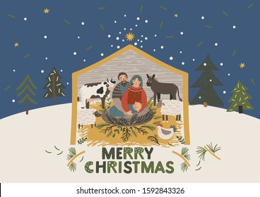 Christmas Card. Vector greeting card. Virgin Mary, baby Jesus and Saint Joseph the betrothed. The Christmas scene. Merry Christmas hand drawn lettering. Xmas greeting card vector design
