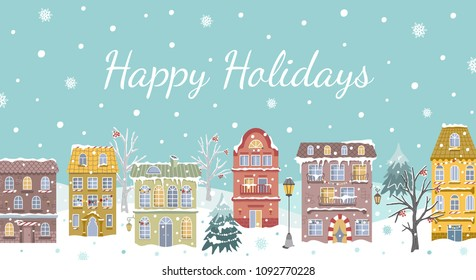 Christmas card with vintage houses and snowfall. New Year design for real estate business. Winter city landscape. Vector flat illustration