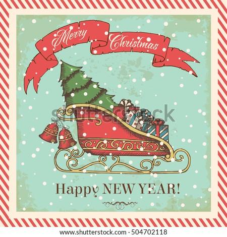 Christmas Card Vintage Style Santas Sleigh Stock Vektorgrafik