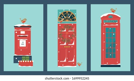 Christmas card with vintage symbols of England. Front door with wreath,  Robbin, post box and presents, telephone.
