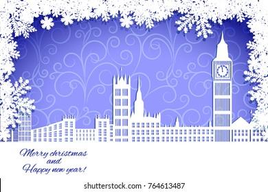 christmas card, winter big city. snow, snowflake frame.   vector illustration