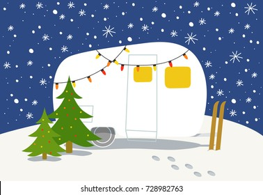 Christmas card with winter camp
