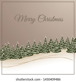 christmas card winter forest on vintage ground