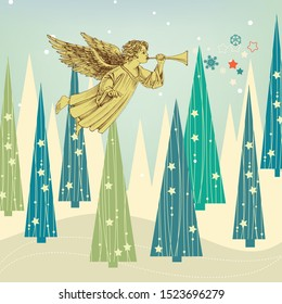 Christmas card. Winter landscape, decorated pinetrees and Christmas angel