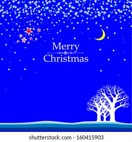 Christmas card. Winter landscape with a moon, forest, star and place for your text. Vector Illustration